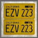 1956 California YOM License Plates For Sale - Restored Vintage Pair EZV223