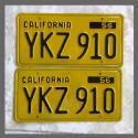 1956 California YOM License Plates For Sale - Restored Vintage Pair YKZ910
