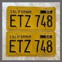 1956 California YOM License Plates For Sale - Restored Vintage Pair ETZ748