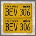 1956 California YOM License Plates For Sale - Original Vintage Pair BEV306