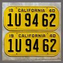 1940 California YOM License Plates For Sale - Restored Vintage Pair 1940 California YOM License Plates For Sale - Restor