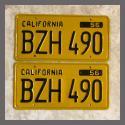 1956 California YOM License Plates Pair Restored BZH490