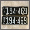 1920 California YOM License Plates For Sale - Original Vintage Pair 194469