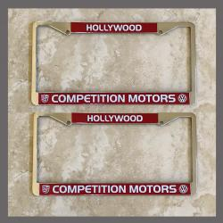 Competition Motors Porsche VW Volkswagen License Plate Frames Pair Hollywood California Dealer