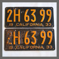 1933 California YOM License Plates Pair Original 2H6399 For Sale