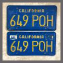 1970 - 1980 California YOM License Plates For Sale - Original Vintage Pair 649POH