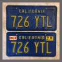 1970 - 1980 California YOM License Plates For Sale - Original Vintage Pair 726YTL