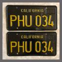 1963 California YOM License Plates For Sale - Original Vintage Pair PHU034