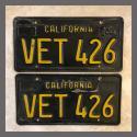 1963 California YOM License Plates For Sale - Original Vintage Pair VET426