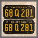 1941 California YOM License Plates Pair Original 68Q281