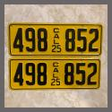 1925 California YOM License Plates For Sale - Restored Vintage Pair 498852