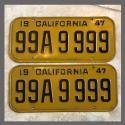1947 California YOM License Plates Pair Original 99A9999