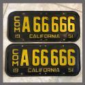 1951 California YOM License Plates For Sale - Original Vintage Pair A66666