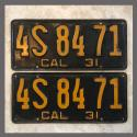 1931 California YOM License Plates For Sale - Original Pair 4S8471