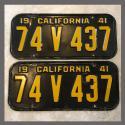 1941 California YOM License Plates Pair Original 74V437