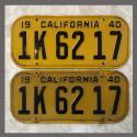 1940 California YOM License Plates For Sale - Original Vintage Pair 1K6217