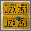 1956 California YOM License Plates For Sale - Original Vintage Pair JZX253
