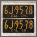 1929 California YOM License Plates For Sale - Original Vintage Pair 6J9578