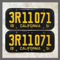 1951 California YOM License Plates For Sale - Original Vintage Pair 3R11071