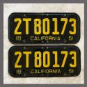 1951 California YOM License Plates For Sale - Original Vintage Pair 2T80173