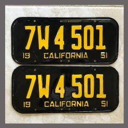 1951 California YOM License Plates For Sale - Repainted Vintage Pair 7W4501