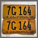 1932 California YOM License Plates For Sale - Original Pair 7G164