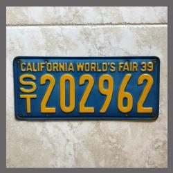 1939 California Trailer License Plate For Sale - Original Vintage ST202962