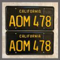 1963 California YOM License Plates For Sale - Restored Vintage Pair AOM478