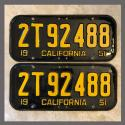 1951 California YOM License Plates For Sale - Repainted Vintage Pair 2T92488