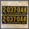 1928 California YOM License Plates For Sale - Original Vintage Pair 2037044