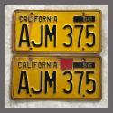 1956 California YOM License Plates For Sale - Original Vintage Pair AJM375