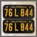 1941 California YOM License Plates Pair Original 76L844