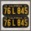 1941 California YOM License Plates Pair Original 76L845