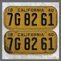 1940 California YOM License Plates For Sale - Original Vintage Pair 7G8261