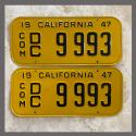 1947 California YOM License Plates For Sale - Vintage Pair DC9993 Truck