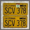 1956 California YOM License Plates For Sale - Original Vintage Pair SCV378