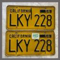 1956 California YOM License Plates For Sale - Original Vintage Pair LKY228