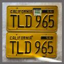 1956 California YOM License Plates For Sale - Original Vintage Pair TLD965