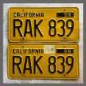 1956 California YOM License Plates For Sale - Original Vintage Pair RAK839