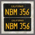 1963 California YOM License Plates For Sale - Restored Vintage Pair NBM356