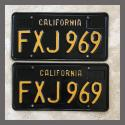 1963 California YOM License Plates For Sale - Vintage Pair FXJ969