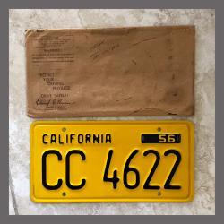 1956 California YOM Trailer License Plate For Sale - Original Vintage CC4622 NOS