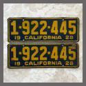 1928 California YOM License Plates For Sale - Original Vintage Pair 1922445