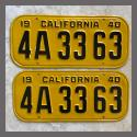 1940 California YOM License Plates For Sale - Restored Vintage Pair 4A3363