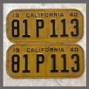 1940 California YOM License Plates For Sale - Original Vintage Pair 81P113