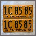 1932 California YOM License Plates For Sale - Repainted Vintage Pair 1C8585
