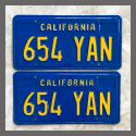 1970 - 1980 California YOM License Plates For Sale - Restored Vintage Pair 654YAN