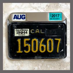 California Motorcycle YOM License Plate Frame for DMV Month Year Stickers 1963-1969