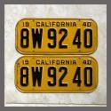 1940 California YOM License Plates For Sale - Original Vintage Pair 8W9240