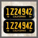 1951 California YOM License Plates For Sale - Restored Vintage Pair 1Z24942